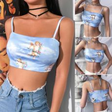 2019 New Fashion Women camisole Sling Top Vest Sleeveless Cold Shoulder The Angel Of Cupid Print Short Camis Female Summer Top