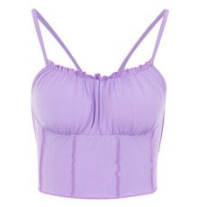 Hot Sell Summer Women Purple Vest Fashion Sleeveless Strapless Solid Ruffles Crop Tops Pullovers Ladies Tanks Women Camisole