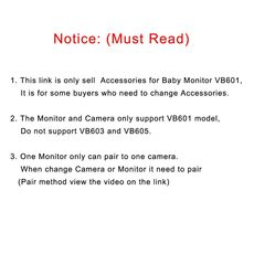 VB601 baby monitor parent unit accessories, 2.0 inch LCD screen baby monitor camera power adapter cable for VB601