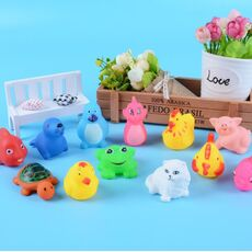 13 Pcs Cute Animals Swimming Water Toys Colorful Soft Rubber Float Squeeze Sound Squeaky Bathing Toy For Baby Bath Toys GYH