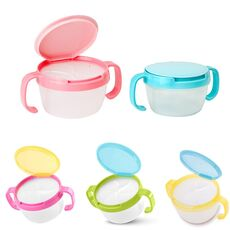 Baby Kids Plastic Snack Catcher Double Handle Snack Cup Jar Bowl Spill-Proof Biscuits Container Box Snacks Storage Box #20