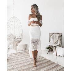 2019 Women White Lace Dress 2 Pcs Set Sexy Slash Neck Backless Pencil Dress Spring Dresses