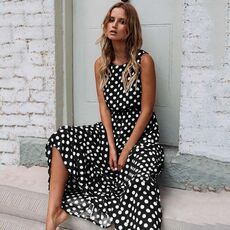 2020 Summer Dress Women Sleeveless Elegant Print Dresses Fashion Casual Round Neck Maxi Dress All-match Polka Dot Print Dress