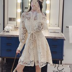 2020 Summer New Runway High Quality Black Lace Dress Women Lantern Sleeve Single-breasted Floral Stand Collar Hollow Out Dress