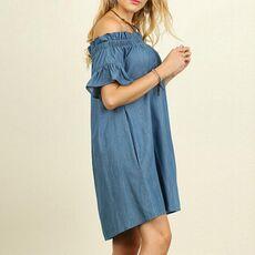 &35 Plus Size Dress Womens Beach Dress Off The Shoulder Bardot Denim Look Shirt Dress Tops Vestidos De Festa Платье Vadim