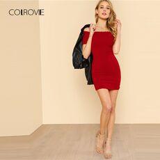 COLROVIE Lettuce Edge Detail Ribbed Bardot Dress 2018 Summer Red Short Sleeve Short Female Dress Off the Shoulder Bodycon Dress