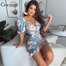 COSYGAL Floral Print Summer Mini Dress Sexy Puff Sleeve Sashes Club Party Dress Backless Ruffles Bodycon Dress Women Vestidos