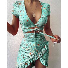 Dress Women Fashion Women Sexy V-neck Solid Color Short Sleeve Hollow Ruffle Irregular Bag Hip Skinny Skinny Mini Dress
