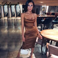 Dulzura neon satin lace up 2020 summer women bodycon long midi dress sleeveless backless elegant party outfits sexy club clothes