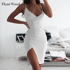 FLEUR WOOD Summer Dress Deep V Neck Sexy Dress Women Asymmetric Split Mini Bodycon Dress Party Women Dress Women Clothing 2020