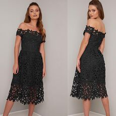 SEBOWEL Red/Blue/Black Summer Crochet Off Shoulder Lace Party Dress Women Elegant Short Sleeve Hollow Out Bardot Midi Dresses XL