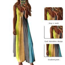 SHUJIN Women O-Neck Midi Dress Summer Beach Sundress Printed Sleeveless Casual Daliy Boho Long Maxi Dress Vestidos De Verano