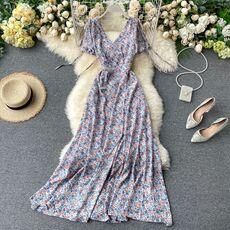 SINGRAIN Summer Women Floral Maxi Dress Bohemian Elegant Chiffon Flower Romantic Dresses Vintage Split Long Print Beach Sundress