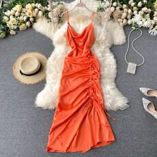 SINGRAIN Women Solid Strap Dress Korean V Neck Asymmetrical Drawstring A Line Dress Summer Elegant Backless Party Maxi Dress