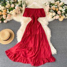 SINGRAIN Women Summer Off Shoulder Maxi Dress Solid Ruffles Dress Elegant Romantic A-Line Dress Korean Sexy Slash Neck Long Robe