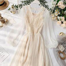 Sweet women mesh lace dresses vestidos 2019 spring autumn long sleeved slim sexy v-neck casual dress ladies korean long robe