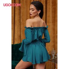 UGOCCAM Off Shoulder Dress Women Summer Slash Neck Lace Solid Dresses Mini High Waist Dress Ladies Strapless Sexy Party Dress