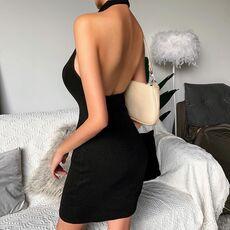 WannaThis Halter V-Neck Mini Dresses Front Button Backless Elastic Knitted Sexy Sleeveless Off Shoulder Summer New Elegant Dress