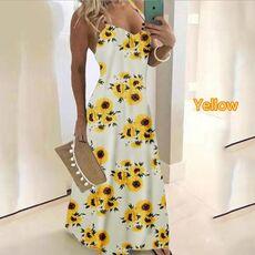 @ Women's Boho Dress V-neck Floral Printed Loose Dress Sleeveless Elegant Maxi Desses Summer Beach Maxi Sexy Sling Dress