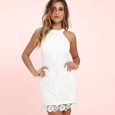 Womens Mini Dress White Elegant Wedding Party Sexy Night Club Halter Neck Sleeveless Sheath Bodycon Lace Dress