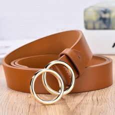 2020 New Designer's Famous Brand Leatherhigh Quality Belt Fashion Alloy Double Ring Circle Buckle Girl Jeans Dress Wild Belts