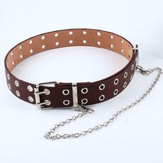 Fashion Harajuku Women Punk Chain Belt Adjustable Black Double/Single Eyelet Grommet Metal Buckle Leather Waistband For Jeans