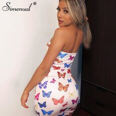Simenual Butterfly Print Strapless Women Party Dress Sexy Hot Clubwear Bodycon Skinny Wrap Chest Mini Dresses 2020 Fashion Slim