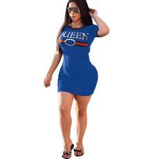 Womens Blue Round Neck Short sleeved Dress Queen Dresses Casual Elegant Sheath Slim Dress Shirt Bodycon Party Dresses Vestidos