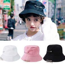 1PC Unisex Women Men Bucket Hat Pin Rings Sunhat Caps Summer Hats