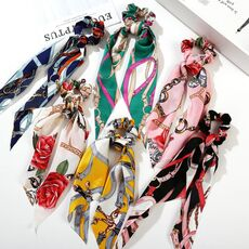 2020 Fashion Floral Print Scrunchies Solid Long Hair Ribbon For Women Ponytail Scarf Sweet Elastic Hair Band Hair Accessories