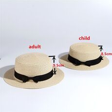 2020 simple Summer Parent-child Beach Hat Female Casual Panama Hat Lady Brand Women Flat brim Bowknot Straw cap girls Sun Hat