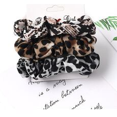 3Pcs Vintage Scrunchie Velvet Leopard Scrunchies Set Elastic Hair Bands Fashion Headband Ponytail Ties Rope Hair Accessories
