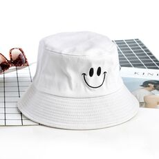 SMILE Bucket Hat Double Sided Bucket Hat Smiling face Unisex Fashion Bob Cap Hip Hop Gorro Men Summer Cap