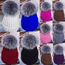 Winter Women Pom Pom Beanies Warm Knitted Bobble Girl Fur Pompom Hats Fur Pompon Casual Hat Cap