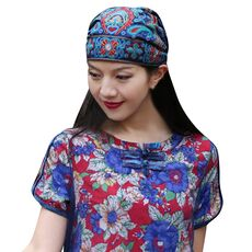 Women Mexican Style Ethnic Vintage Embroidery Flowers Bandanas Red  Print Hat шапка женская меховая winter hats for women