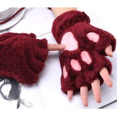 1 Pair Women Girls Lovely Fluffy Bear Cat Plush Paw Claw Half Finger Gloves Mitten Winter Warm Fingerless Gloves Xew