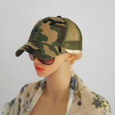 Women Ponytail Baseball Cap Messy Bun Ponycap Snapback Summer Mesh Camo Casual Sun Hat Green
