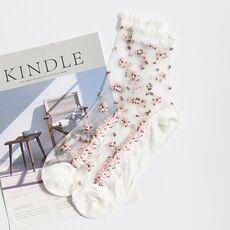 1 Pair Breathable Ultra Thin Socks Summer Women Transparent Lace Silk Crystal Rose Flower Girls Elastic Short Socks Female Sox