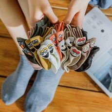 5 Pairs/Pack Kawaii Embroidered Expression Women Socks Happy Fashion Ankle Funny Socks Women Cotton Summer Candy Color
