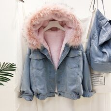 Elexs velvet thick denim jacket female winter big fur collar Korean locomotive lamb coat female student short coat 72510