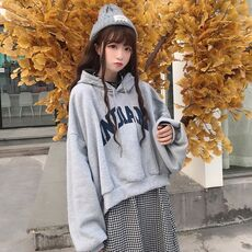 Hoodies Women Hooded Oversize Thick Plus Velvet Loose False Two-piece Letter Print Womens Hoodie All-match Leisure Simple Trendy
