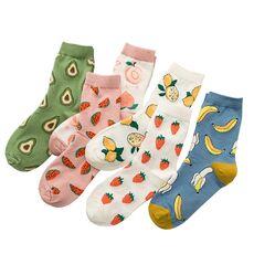 New summer cartoon fruit cotton watermelon lemon strawberry banana avocado women Korean version of socks fashion street socks