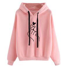 Plus Size Pullovers Girls Long Sleeve Hoodies Autumn Spring Cute Women Sweatshirt And Hoody Ladies Hooded Love Printed Casual