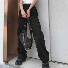 Weekeep Pockets Patchwork High Waist Jeans Women Streetwear Straight Jean Femme Blue 100% Cotton Cargo Pants