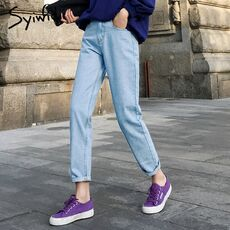 cotton White Jeans for Women High Waist Harem Mom Jeans spring 2020 new plus size black women jeans denim pants beige blue
