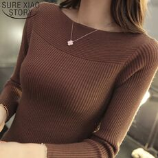 2019 Casual Long Sleeve Autumn Knitted Sweater Women Pullover Sweaters Korean Style Winter Slim White Pull Knitwear 7571 50