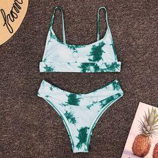 2020 Sexy Bikini Micro Women's Swimming Suit Triangle Swimwear Bathing Separate Backless Tie-dye gradient Swimsuit Set For Women