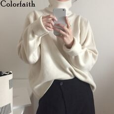 Colorfaith New 2020 Women's Autumn Winter Korean Style Knitwear Turtleneck Warm Pullover Solid Minimalist Elegant Sweater SW7276