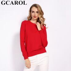 GCAROL Women Candy Knit Jumper Women 30% Wool Sweater Spring Autumn WInter Soft Stretch OL Render Knit Pullover Knitwear S-3XL