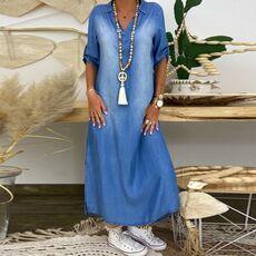 #H30 Fashion Korean Plus Size Denim Dress For Women Summer Dress 2020 Lapel Split Sexy Long Maxi Jeans Dress 3xl Vestidos